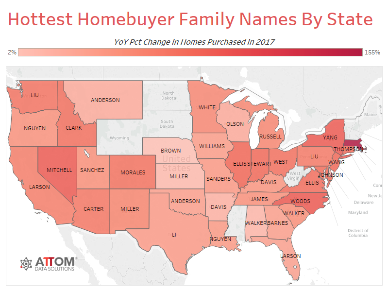 Hottest Homebuyer Names by State