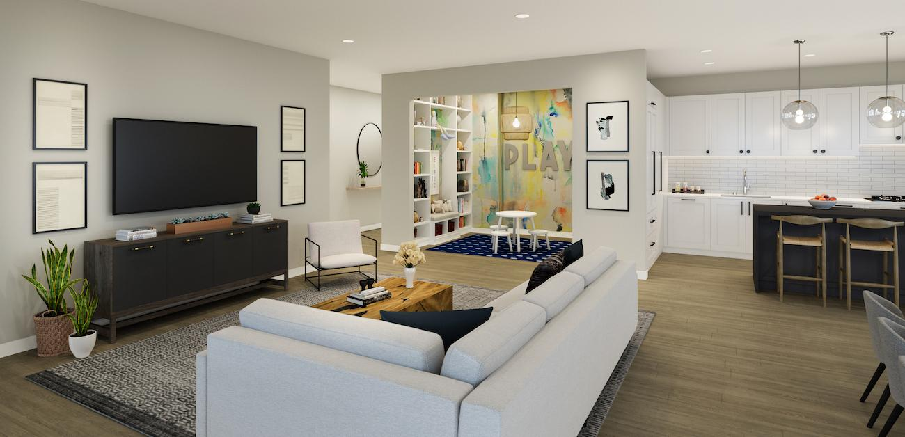 Children's area in open concept living room