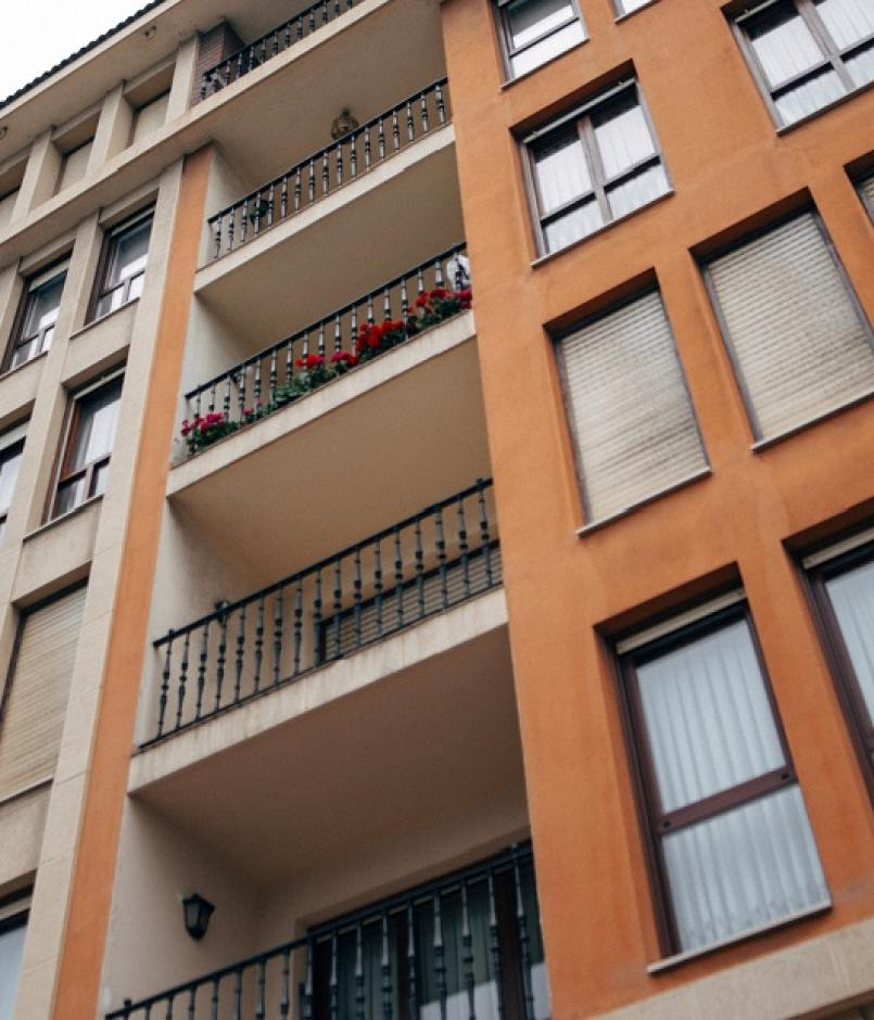 View of the side of a condo building