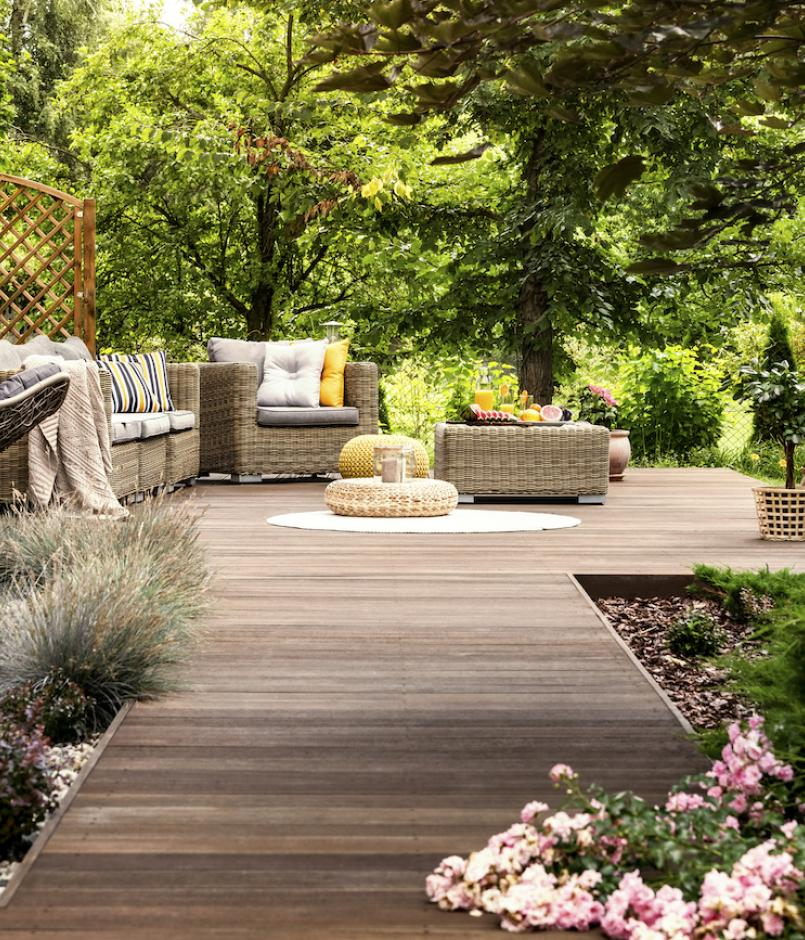 Furnished outdoor home patio