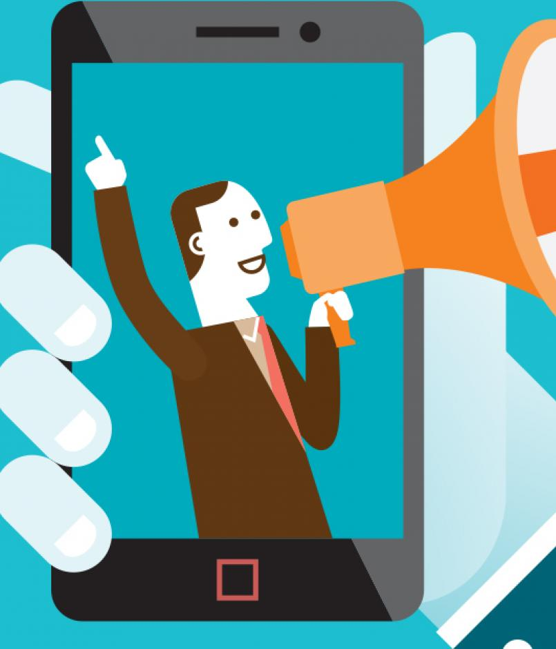 illustration of mobile shout-out campaign with businessman making announcement with megaphone