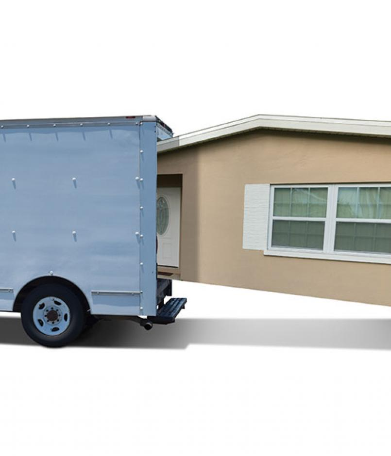 Man cramming house into moving truck