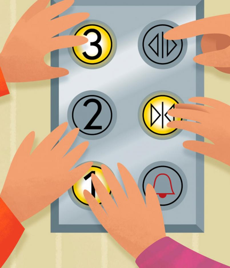 kids pressing all elevator buttons