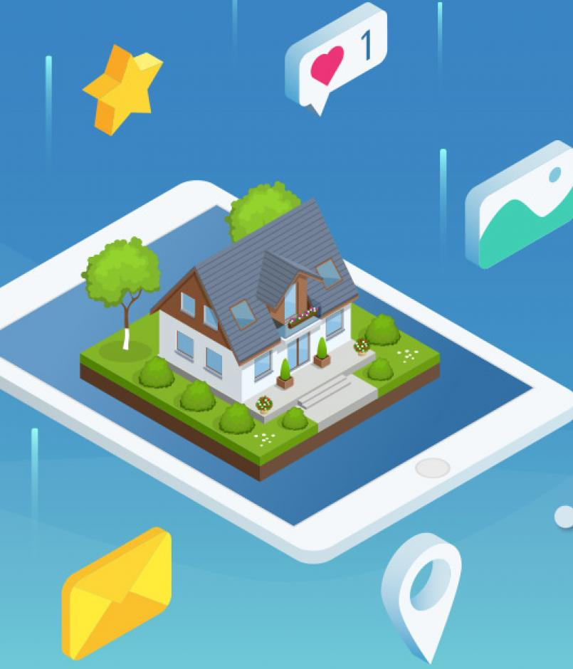 isometric home on phone screen surrounded by task icons