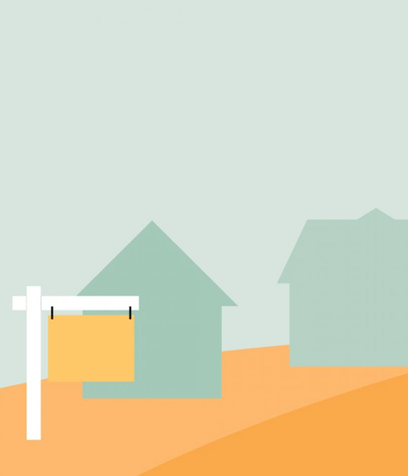 illustration of homes and for sale signs