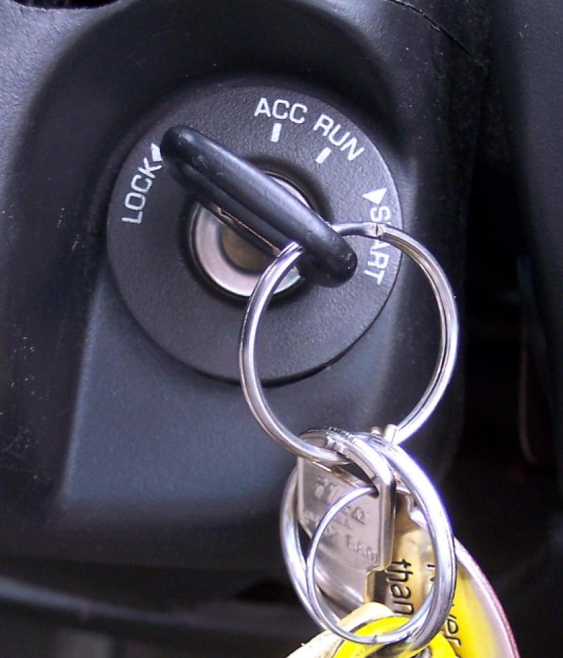 A key in a car's ignition