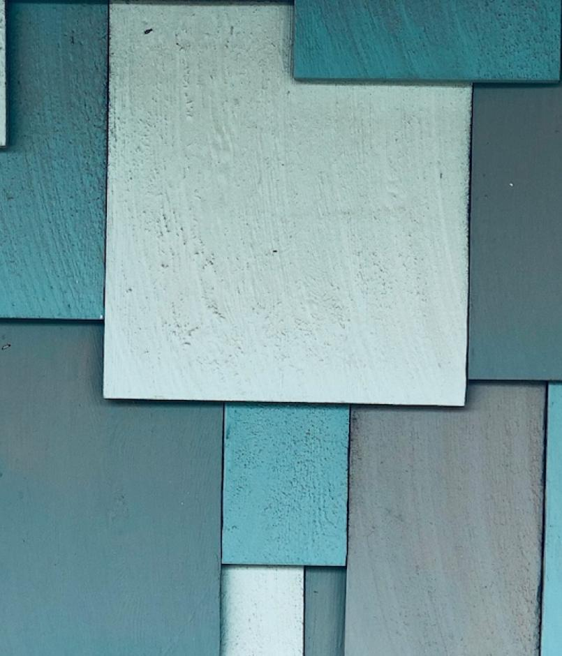 A variety of panels in blue shades