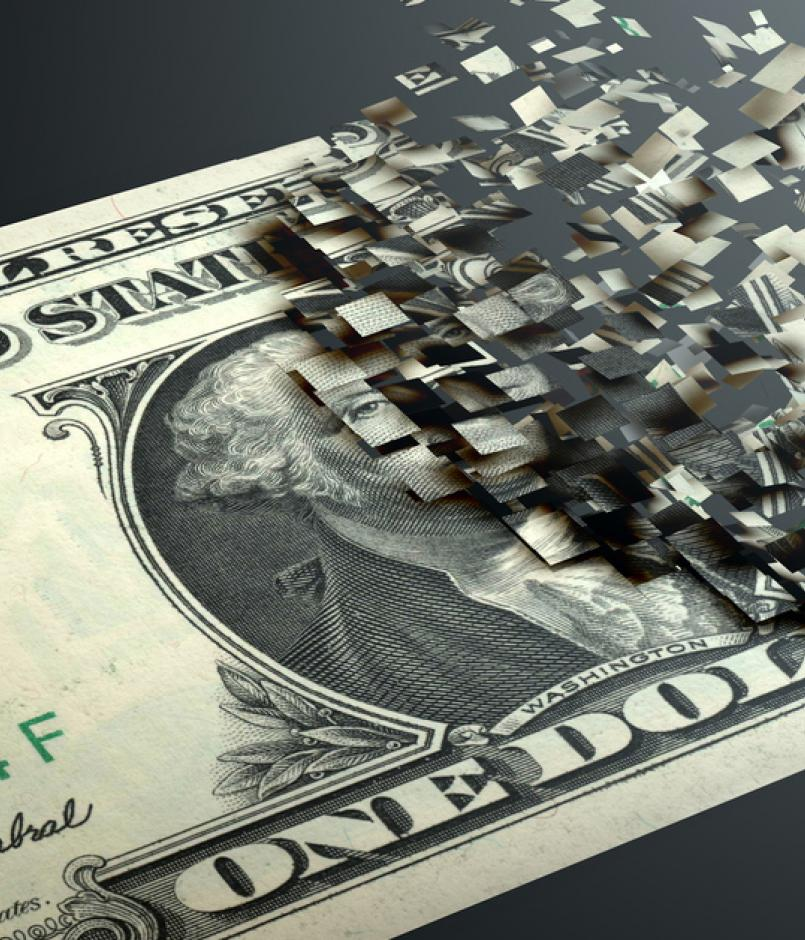 dollar disintegrating into cyberbits