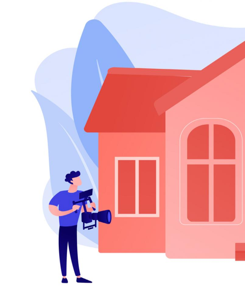illustration, home for sale, videographer, drone, online listing on mobile