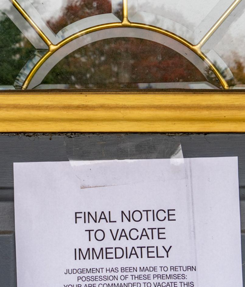 Foreclosure eviction on home door