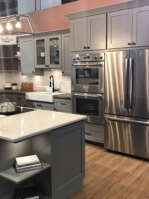 Kitchen with silver cabinetry