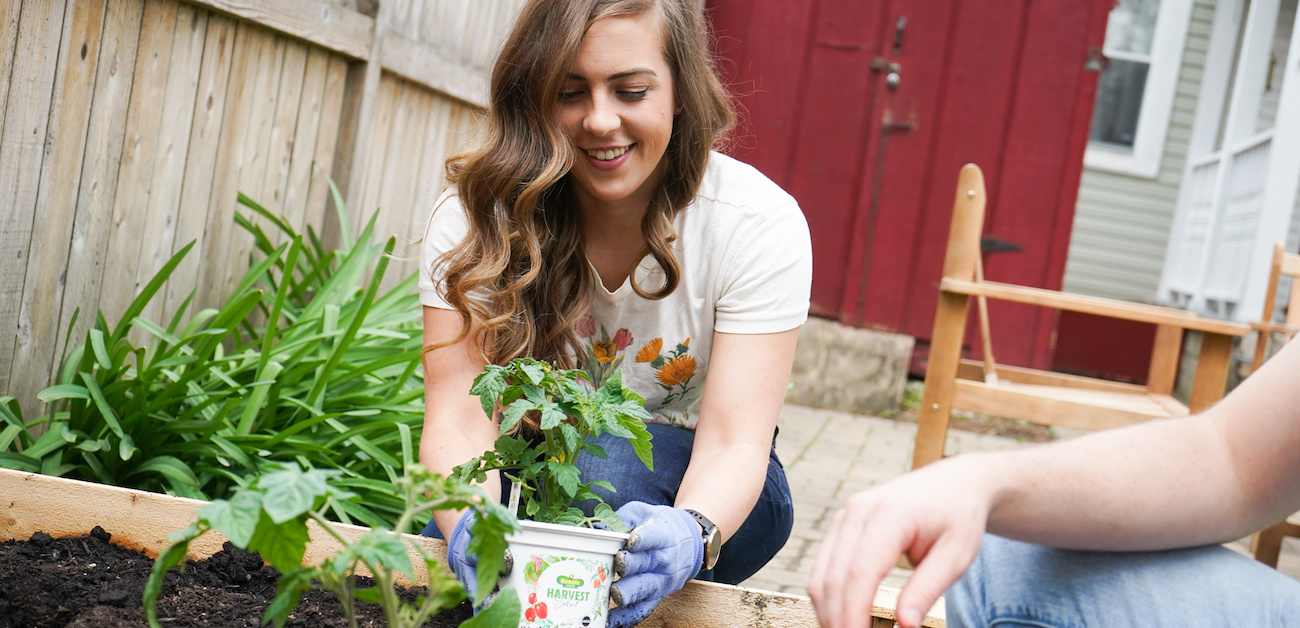 Woman planting in raised garden container