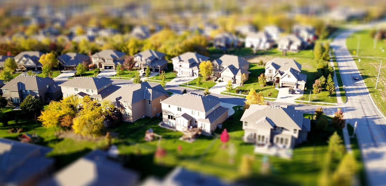 Aerial view of suburban homes