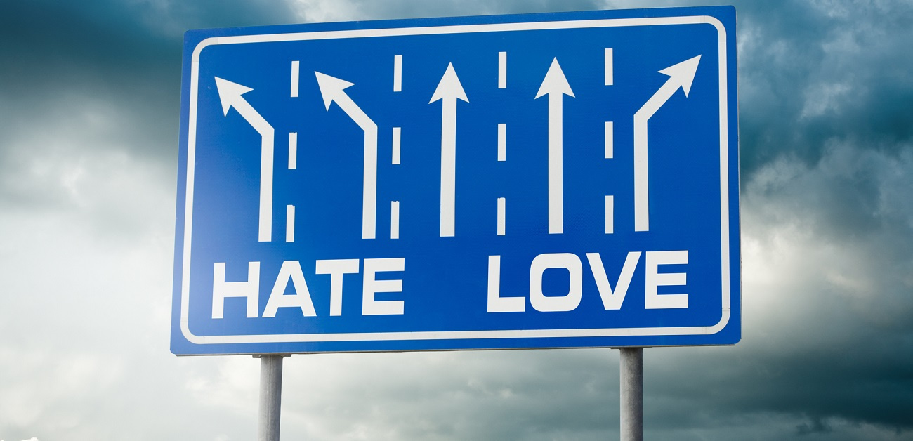 Hate Love Road Sign