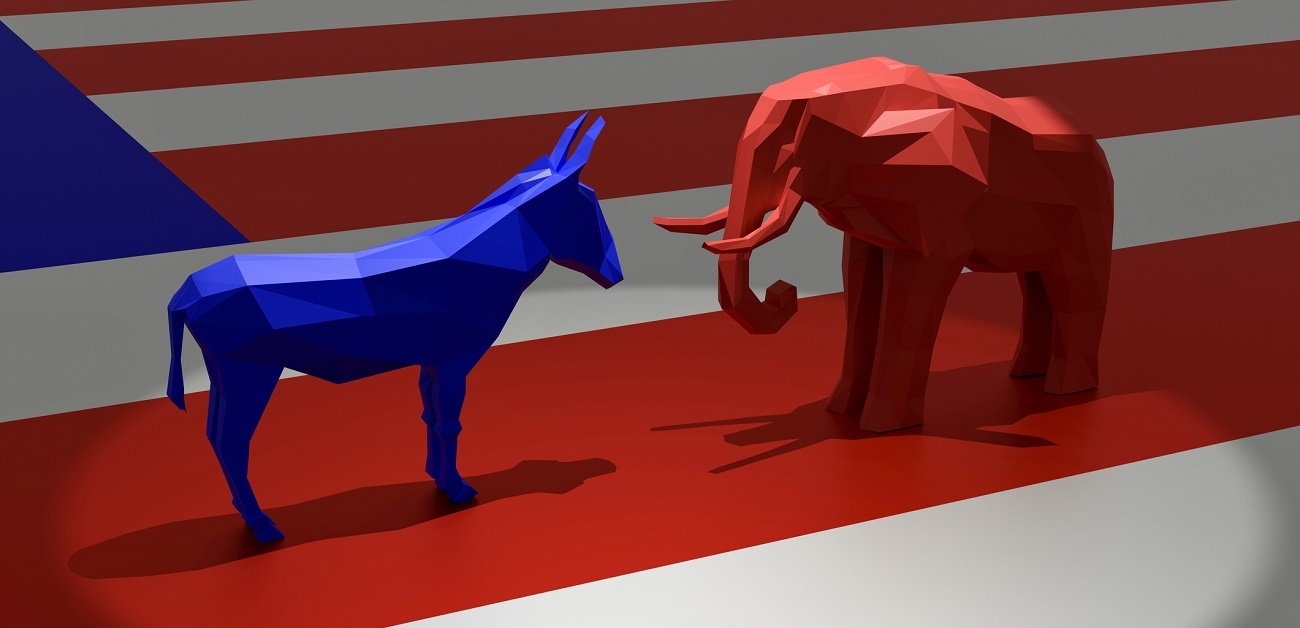 Democratic Blue Donkey and Republican Red Elephant