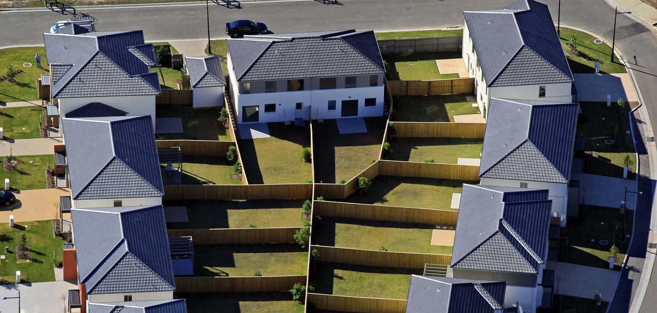 Houses with fences separating them