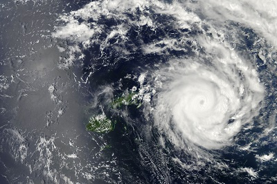 Depiction of a hurricane making landfall
