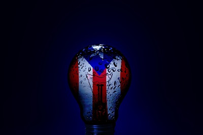 Image of a wet blown Puerto Rico lightbulb