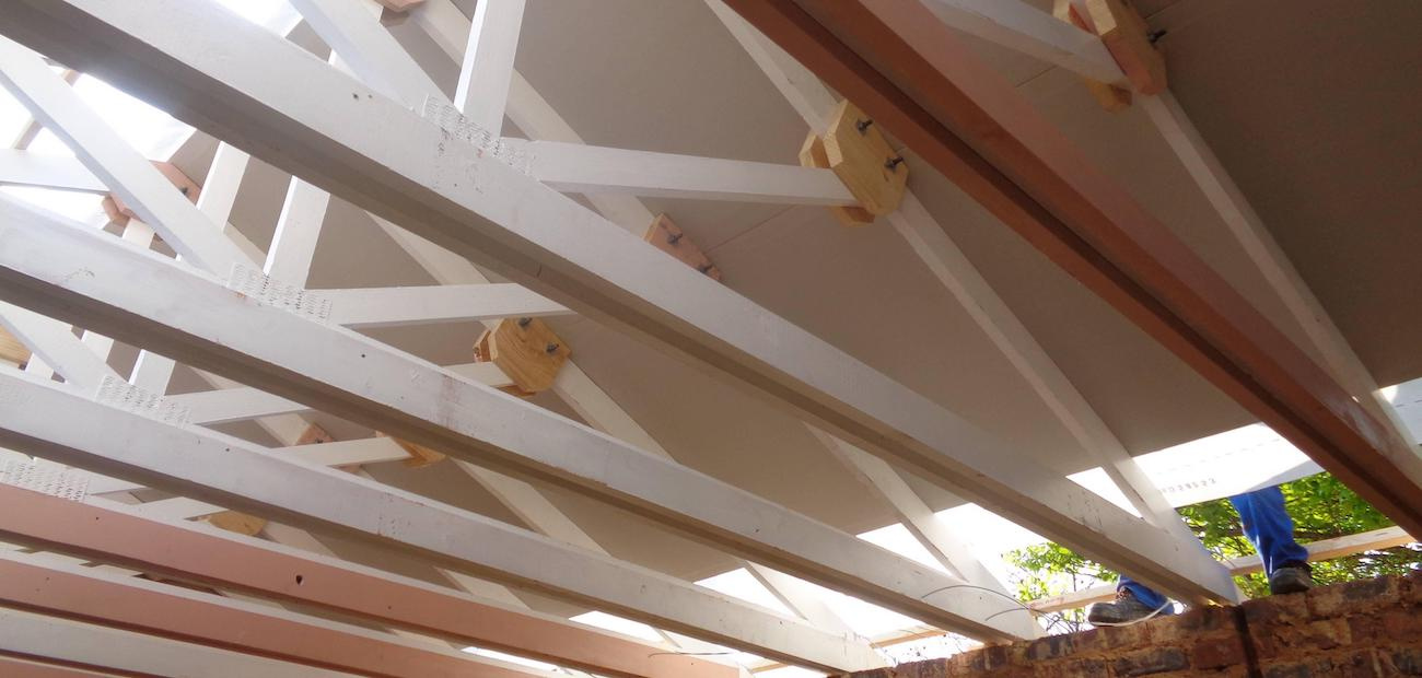 Ceiling beams of new-home construction project