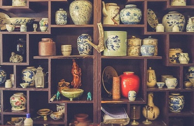 Wall shelves filled with clutter