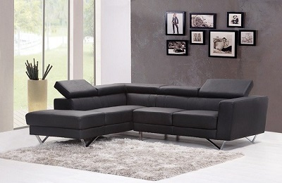 Gray sofa in gray room