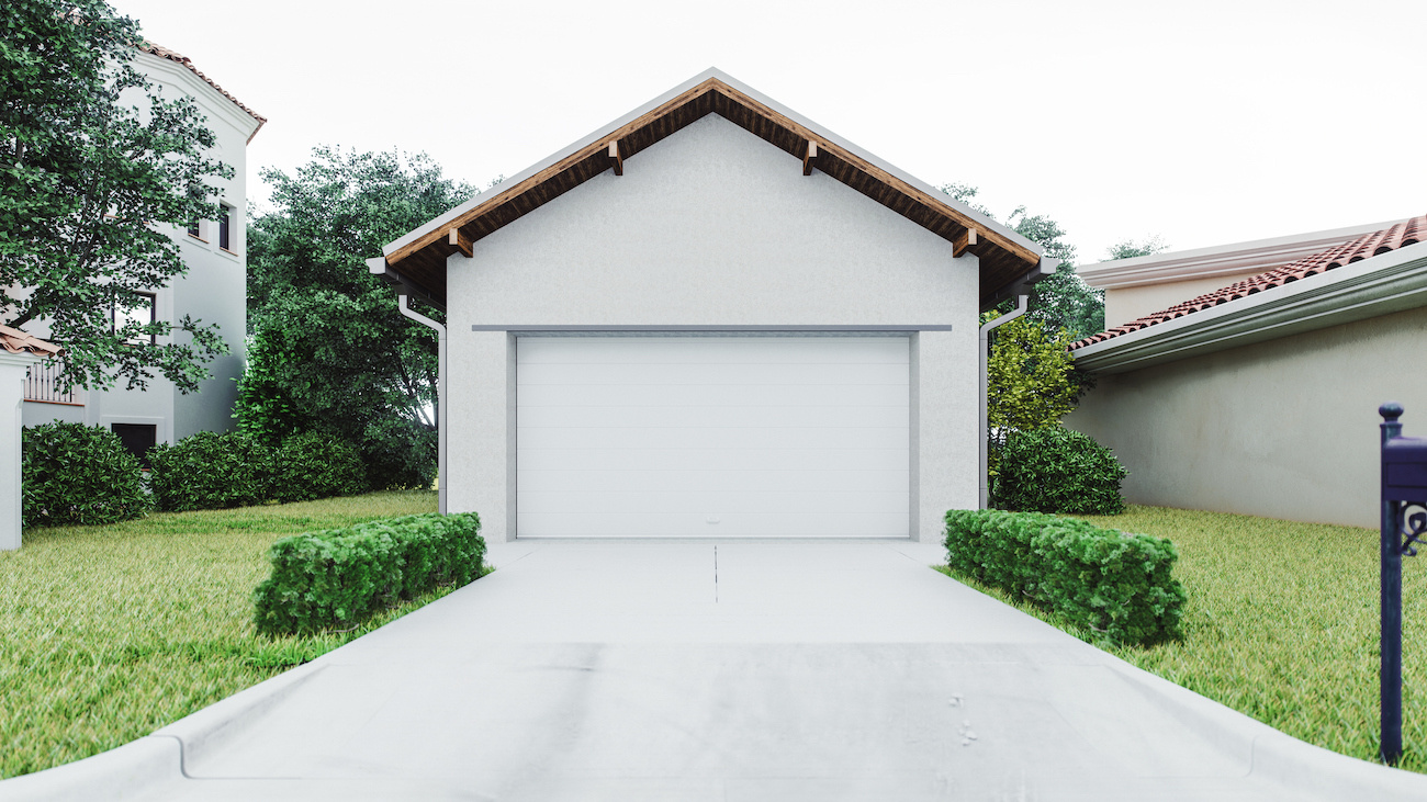 Empty garage detached from home