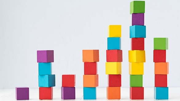 Colored blocks showing slowing upward trend