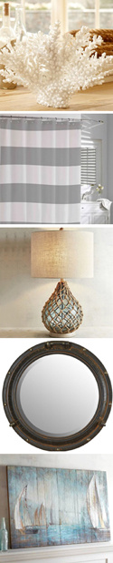 coastal style decorative items - see product descriptions at left
