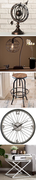 industrial style decorative items - see product descriptions at left