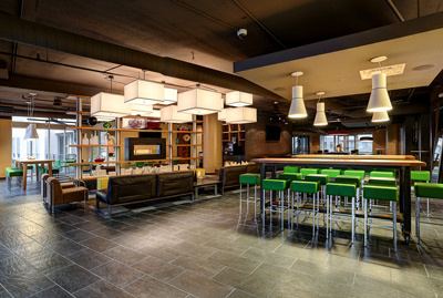An engaging social space by HPA Design Group, for residents at Cortona at Forest Park in St. Louis, Missouri