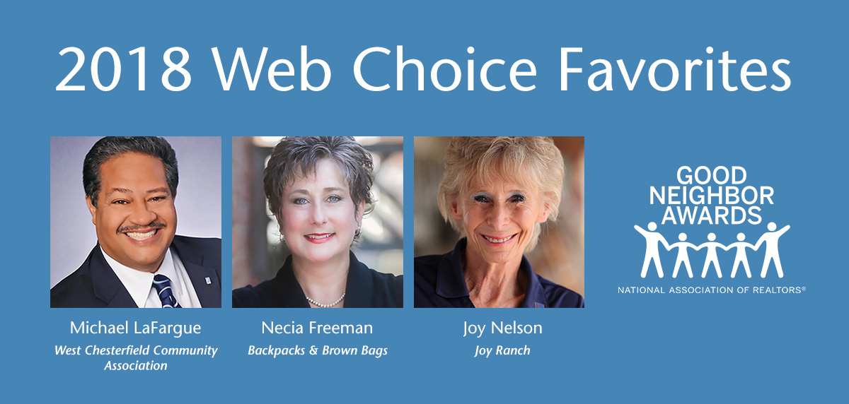 "2018 ""Web Choice Favorites"" are: Michael LaFargue, Necia Freeman, and Joy Nelson."