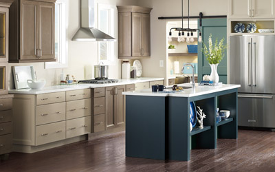 kitchen cabinets in teal and beige