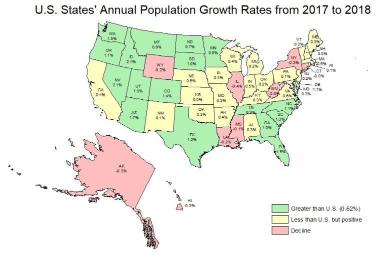 Population growth rates, 2017-2018. Visit source link at the end of the article for more information.