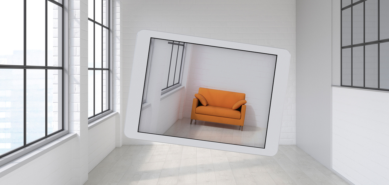 couch superimposed on empty room photo
