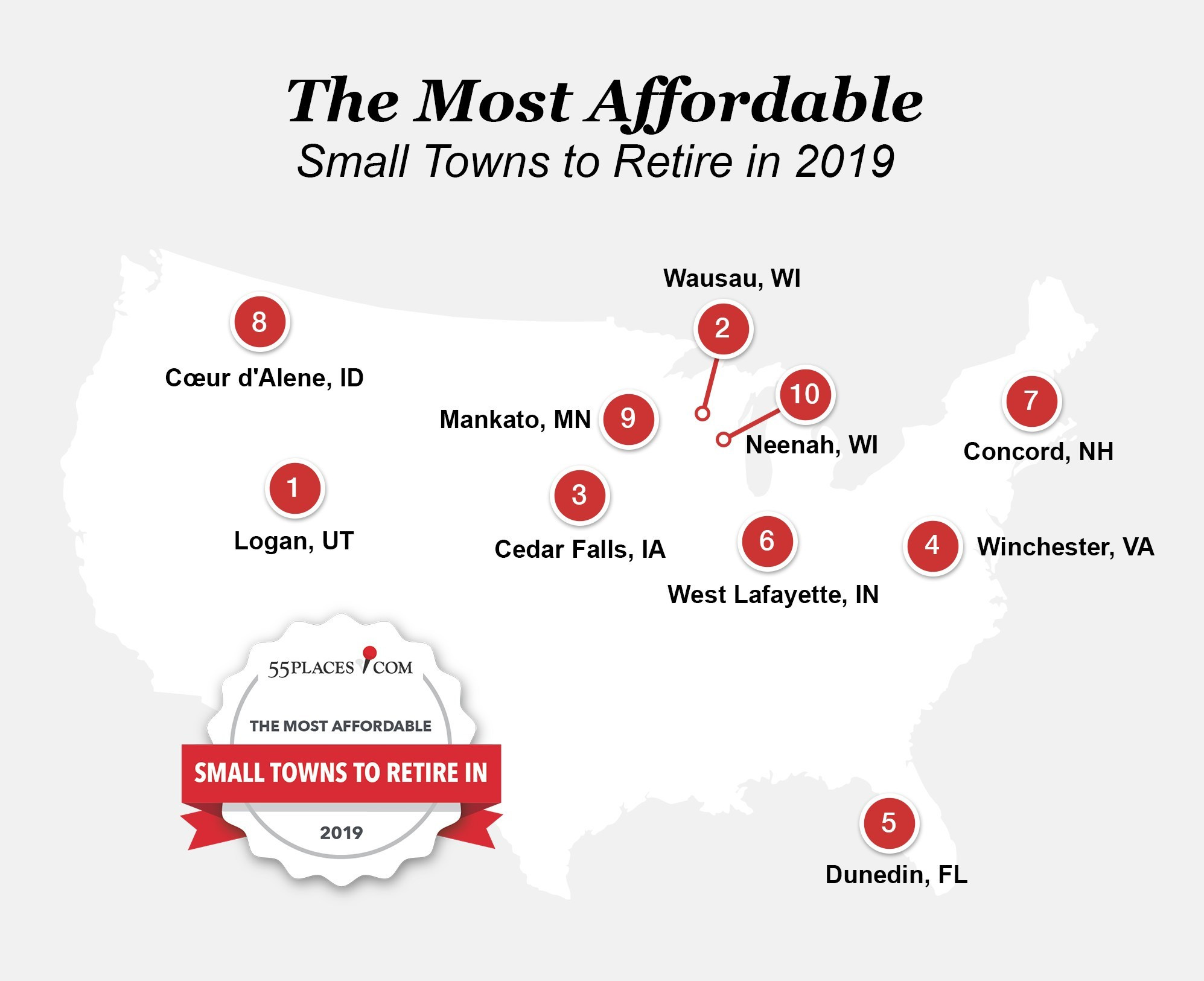 Affordable places to retire. Visit source link at the end of the article for more information.