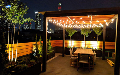 rooftop garden at night