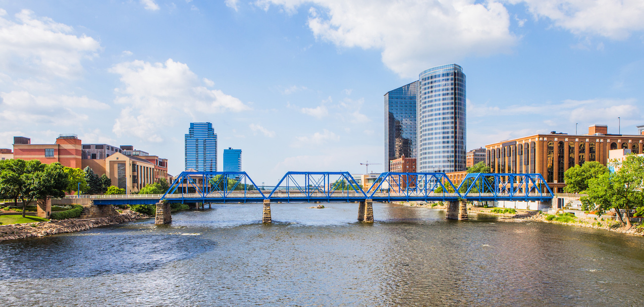 Grand Rapids, Michigan downtown and river