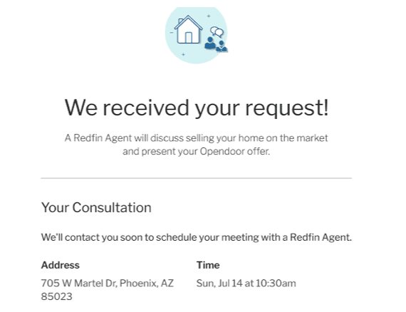 screenshot of auto request response from Redfin