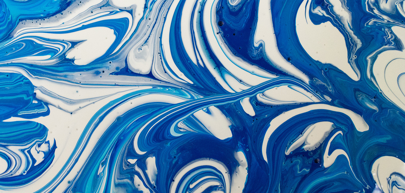 blue and white paint swirled together
