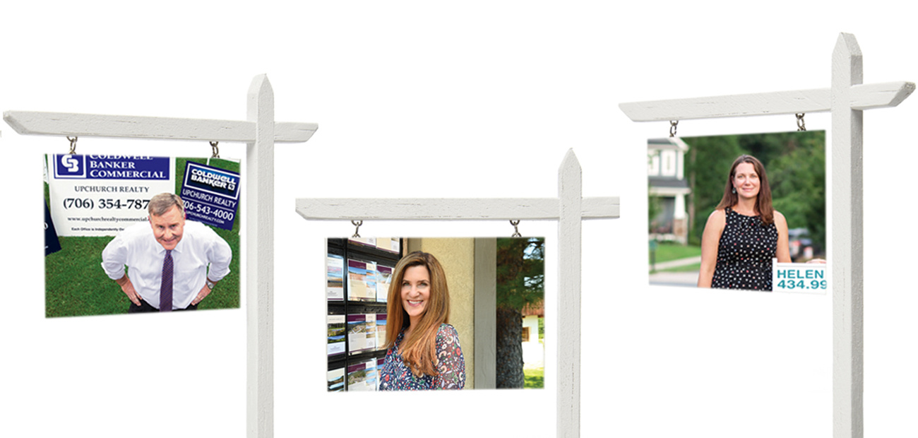 3 real estate sales signs with portraits of individuals interviewed