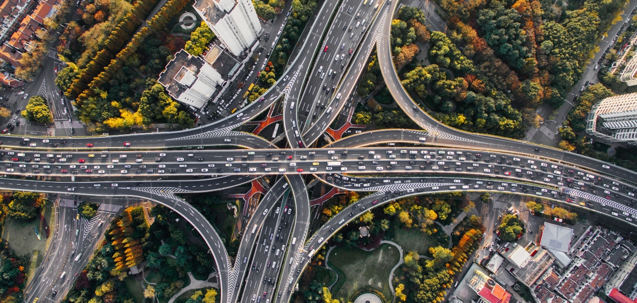 A traffic jam seen from above