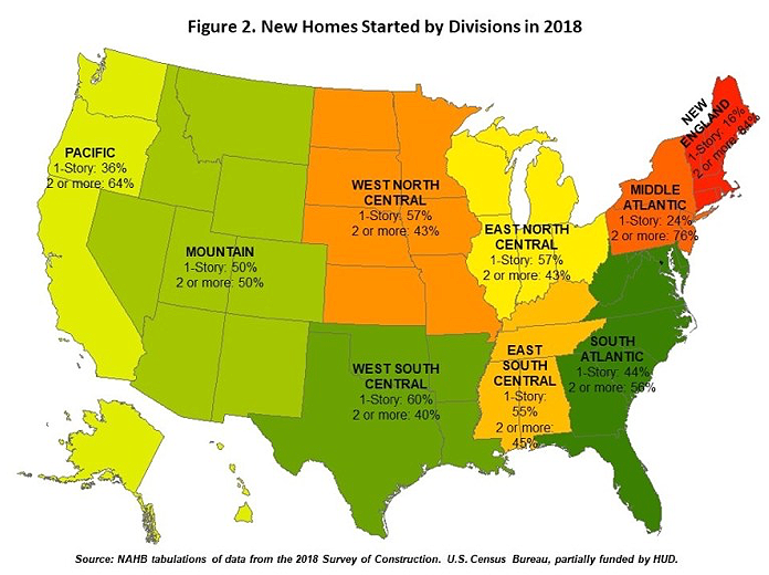 A map showing the popularity of single-story homes. Visit source link at the end of this article for more information.