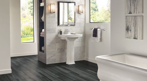 bathroom with luxury vinyl flooring