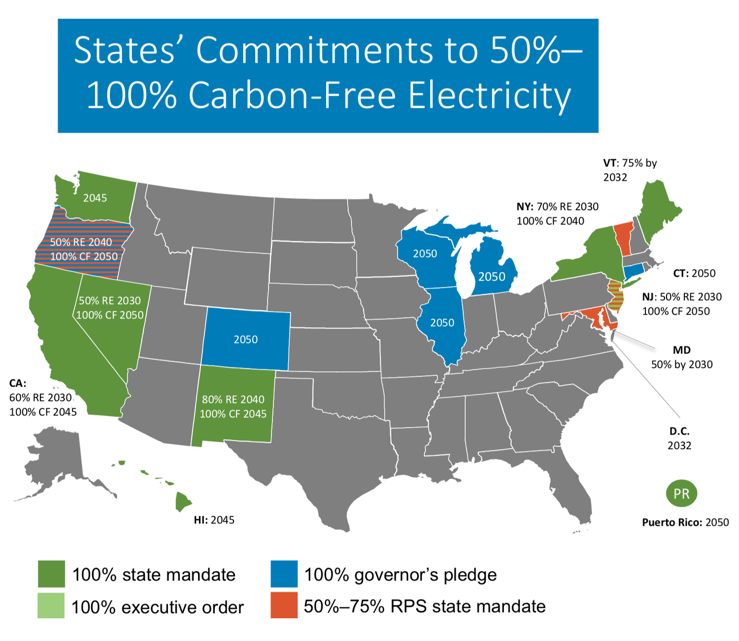 State commitment to carbon free energy map. Visit source link at the end of this article for more information.
