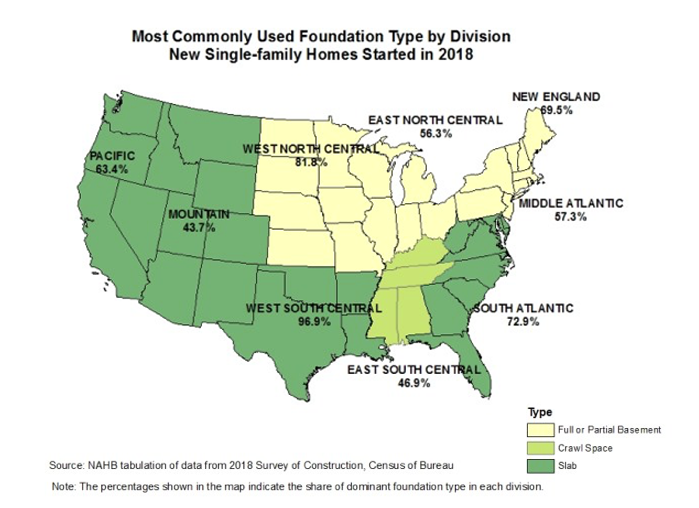 map of common foundation types by state. Visit source link at the end of this article for more information.