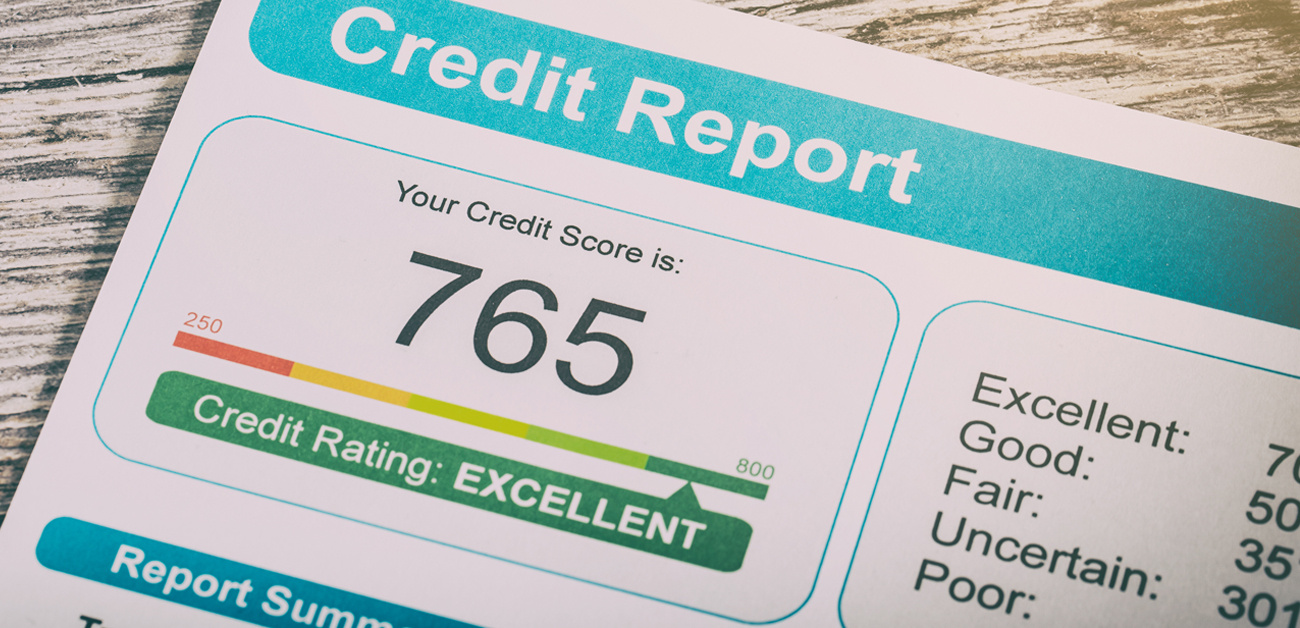 close up of credit report showing score