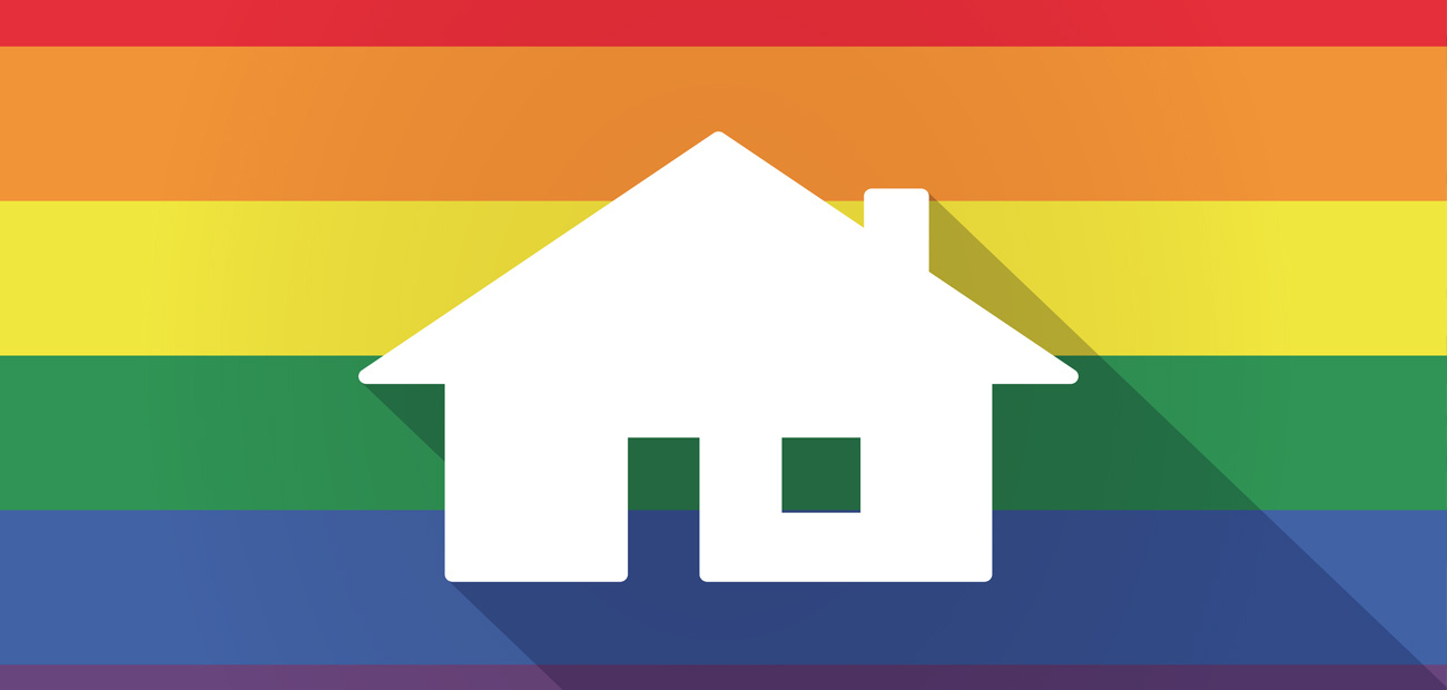 home silhouette on gay pride flag