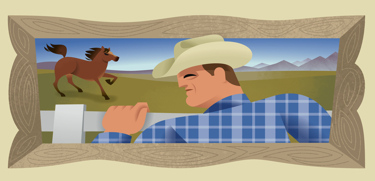 Illustration of cowboy watching horse in pasture