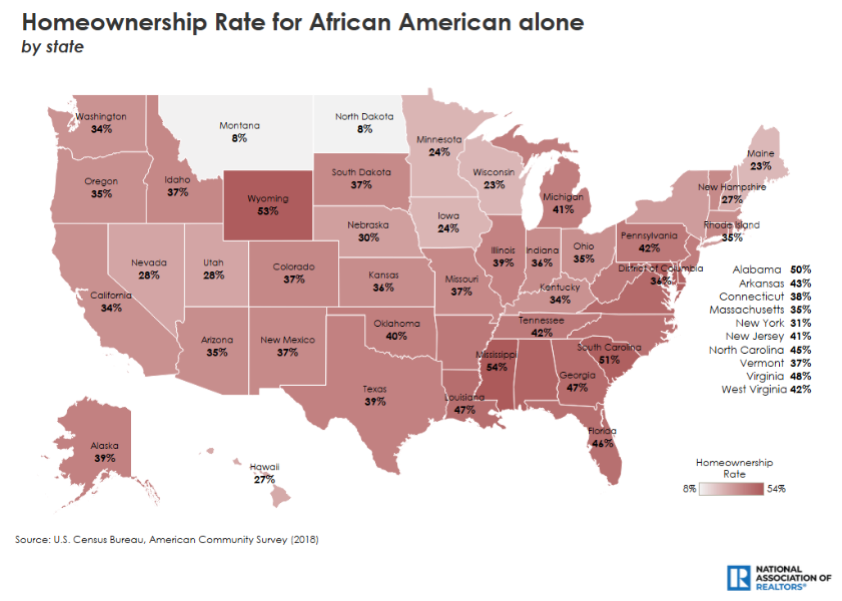 homeownership rates for African Americans, by state. Visit source link at the end of this article for more information.