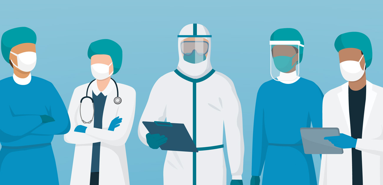 illustration of medical staff in protective gear